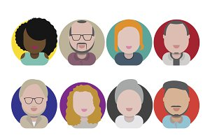 Diversity People Flat Design Icons