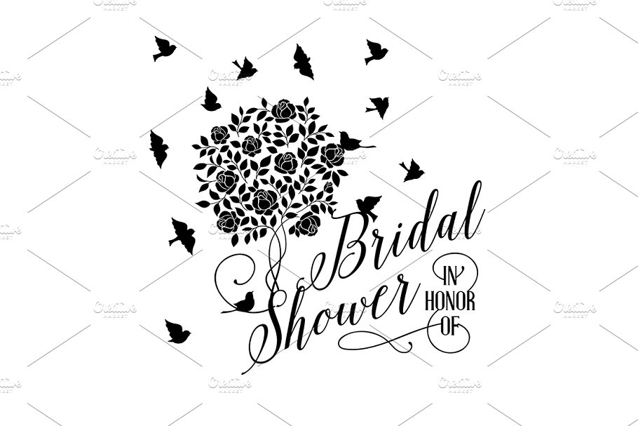 Romantic Bridal Shower card. in Illustrations - product preview 8