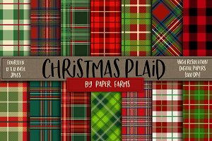 Christmas plaid digital paper