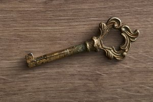 Vintage old rusty key