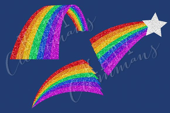Glitter Rainbows clip art & papers in Illustrations - product preview 1