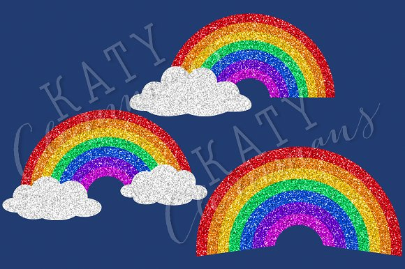 Glitter Rainbows clip art & papers in Illustrations - product preview 2