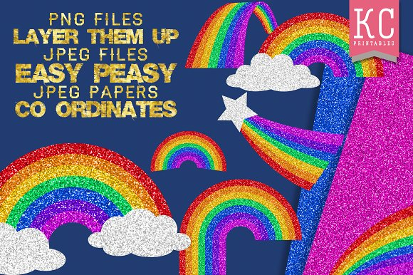 Glitter Rainbows clip art & papers in Illustrations - product preview 3