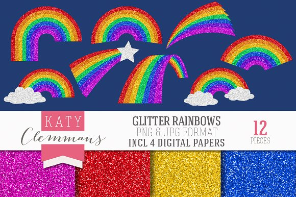Glitter Rainbows clip art & papers in Illustrations - product preview 4