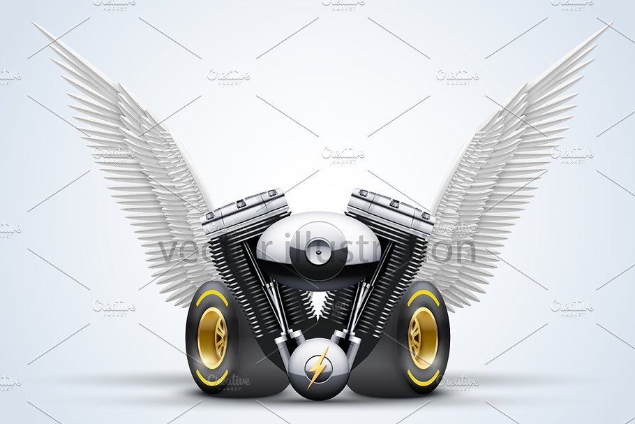Engine, wheels and wings in Illustrations - product preview 8