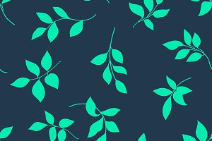 Grunge seamless pattern of leaves.