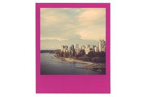 Pink Polaroid Film Frame Mockup PSD