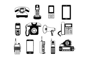 Silhouette of telephones and smartphones. Vector monochrome pictures