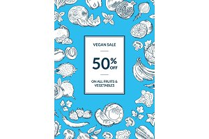 Vector vegan shop sale vertical background with handdrawn fruits and vegetables