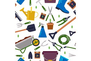 Different tools for gardening. Vector seamless pattern