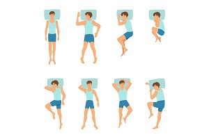 Different positions of sleeping man. Top view vector illustrations