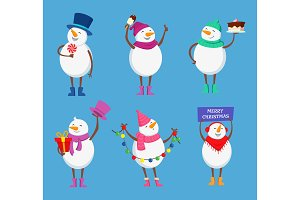 Funny snowmen in different action poses. Cute winter characters for christmas happy holidays