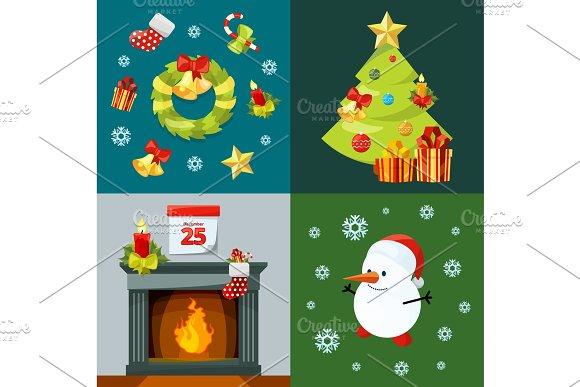 Christmas Celebration Cartoon Images.Conceptual Pictures Of Christmas Celebration Vector Illustrations In Cartoon Style