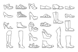 Different shoes for men and women. Vector illustrations in linear style