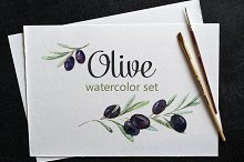 Watercolor set of olives