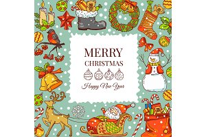 Christmas background pictures. Vector illustrations for holiday. Frame with place for your text