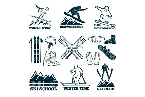 Labels set for club of skier. Silhouette of ski sportsmen. Symbols of winter sport for logos design
