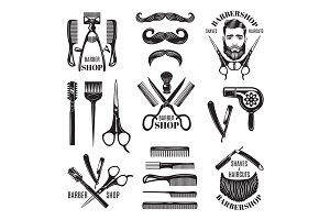 Illustrations set of different barber shop tools. Symbols for badges and labels
