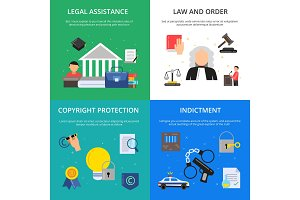 Conceptual pictures of criminal justice. Illustrations of lawyer, judge and other persons in flat style