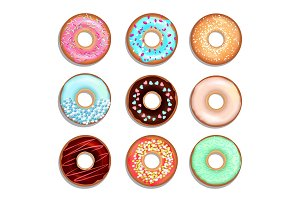 Donuts with cream and chocolate. Vector illustrations of sweets