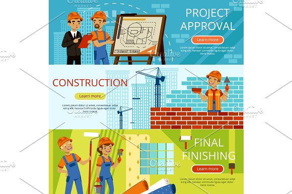 Concept Pictures Of Construction Steps Project Of Building Different Worker Equipment Engineers And Builders