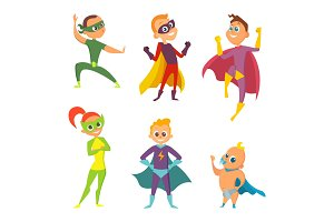 Costume of superheroes kids. Cartoon illustrations of children in action poses