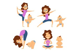 Baby yoga. Mutual exercises with mother and her baby. Different poses and exercises for beginners. Cartoon characters