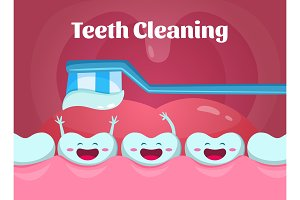 Cartoon illustrations of cute and funny teeth in mouth. Dental poster with toothbrush