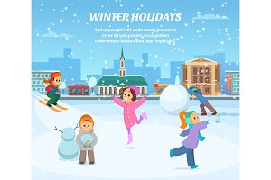 Winter games. Children in clothes playing in park. Outdoor landscape background