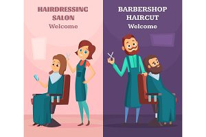 Banners set with illustrations of hairdressers at work