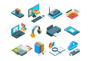 Isometric symbols of online education. Icons of e learning. Computer, laptop, smartphone and other gadgets for teaching