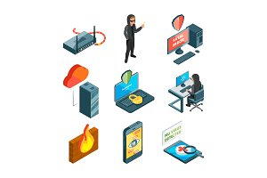Icon set of internet security. Web protection. Hacker attack