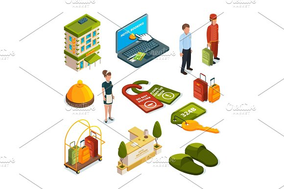 Hotel services. Isometric illustrations