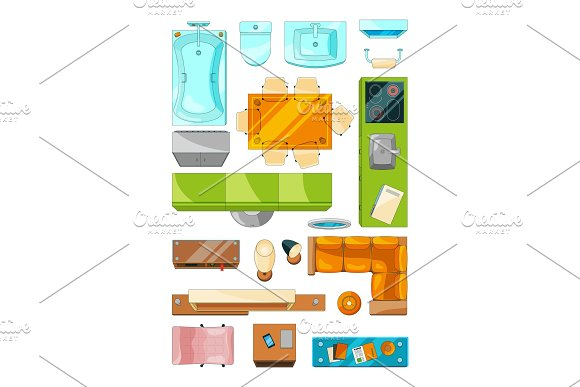 Different furniture set for layout of the apartment. Vector pictures set top view