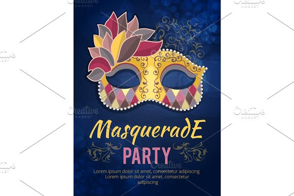 Beauty poster illustration of mask with feather. Design template invitation carnival party