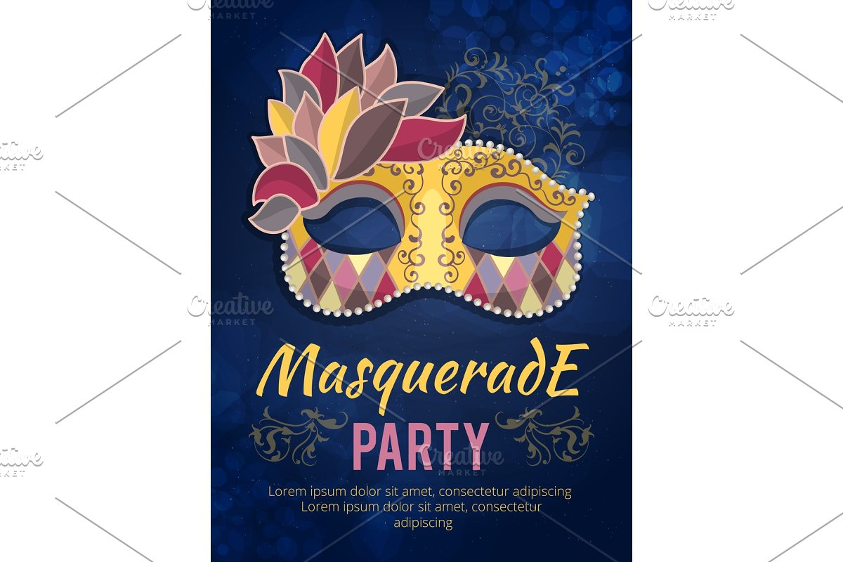 Beauty poster illustration of mask with feather. Design template invitation carnival party in Graphics - product preview 8