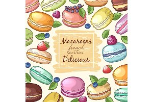 Poster with colored illustrations of macaroons. Background with food pictures and place for your text