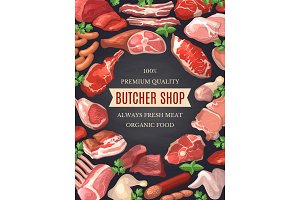 Food pictures set. Illustrations of meat. Poster for butcher shop