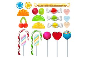 Different sweets and candies from sugar. Realistic vector pictures set