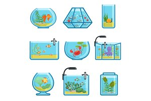 Illustrations set of different aquariums with fishes and saltwater. Underwater world