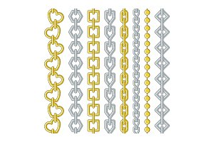 Gold and silver chains. Vector collection set isolate on white