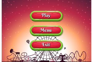 Vector cartoon style contoured buttons with text for game design on amusement park background