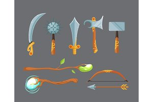 Vector set of fantasy cartoon game design swords, axes, staffs and bow weapon isolated on grey background