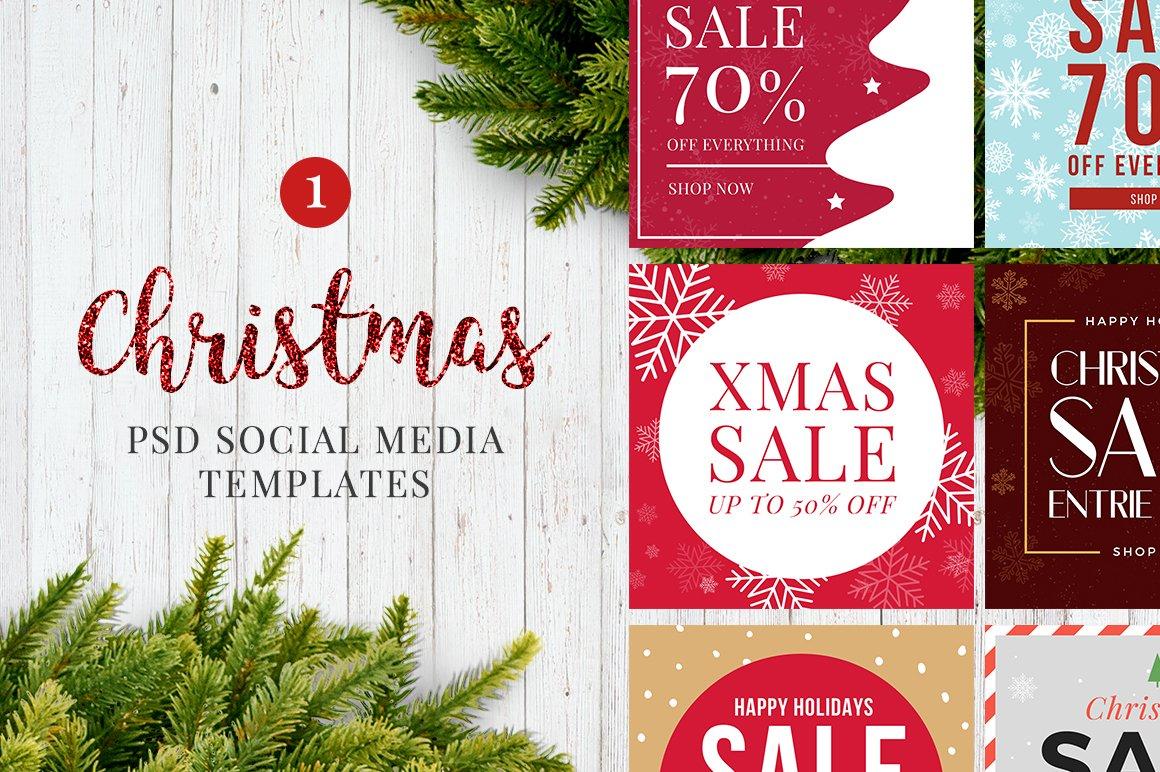 christmas social media banners v1 instagram templates creative market - Social Media Templates Free
