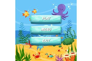Vector cartoon style buttons design sealife background
