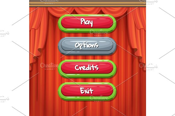Vector Cartoon Style Contoured Enabled And Disabled Buttons With Text For Game