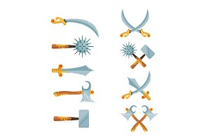 Vector set of cartoon game design crossed swords, axes weapon