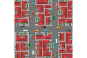 Vector top view city with house rooftops and trees, cars on the roads illustration