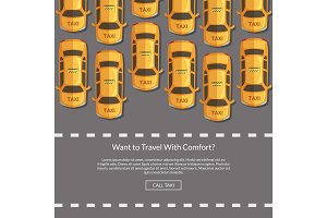 Vector taxi cars website concept illustration