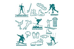 Biathlon, sled, skis and other winter sports monochrome illustrations. Symbols for labels and logos design
